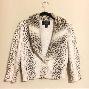 ST. John leopard print knit cardigan fur collar